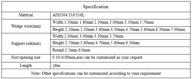 Wedge wire filter Specification